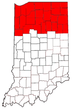 Northern Indiana counties are highlighted in red.