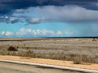 Nullarbor Plain - Rainbow over the Nullarbor Plain.