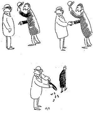 """Oskar Andersson - """"Mannen som gör vad som faller honom in"""", a cartoon by Oskar Andersson."""