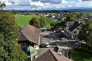 Uster Castle - view from the tower to the castle's auxiliary buildings