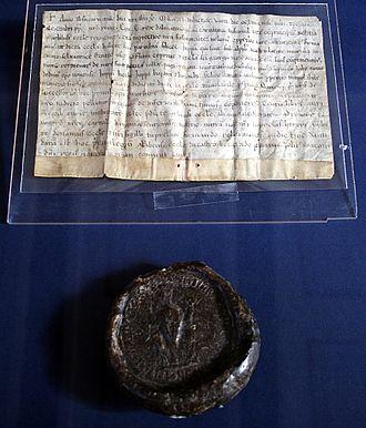 Peter Krešimir IV of Croatia - Image: Odredba i potvrda kralja Petra Kresimira IV i pecat HDA 090609
