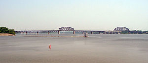 Ohio River - The widest point on the Ohio River is just north of downtown Louisville, where it is one mile (1.6 km) wide