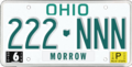 Ohio state license plate, 1985–1990 series with June 1989 sticker (Morrow County).png