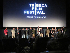 Ed Subitzky - On stage at the April 2015 Tribeca Film Festival, Ed Subitzky is the second on the left, in beige.