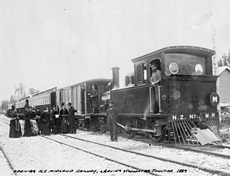 New Zealand Midland Railway Company - Opening of the Midland line to Stillwater junction, 1889. NZMRC No. 3 is pictured.