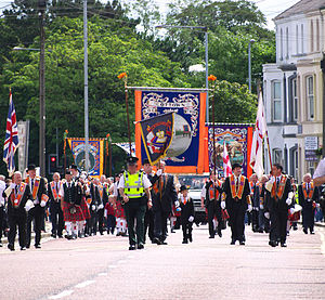 Orange walk - Orangemen marching in Bangor on 12 July 2010