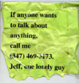 """Original """"Jeff, One Lonely Guy"""" flyer posted by Jeff Ragsdale.PNG"""