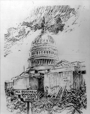 """Food and Fuel Control Act - January 1918 editorial cartoon by Oscar Cesare showing the U.S. Capitol boarded up and signs reading, """"Closed; no fuel; all business conducted at White House."""""""