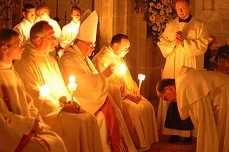 Easter Vigil - Photo of the Easter Vigil at Cistercian Abbey Heiligenkreuz, near Vienna, 2008.