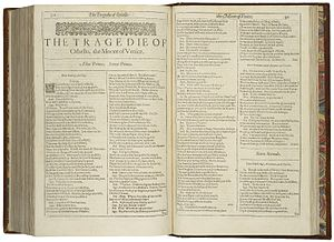 Emphasis (typography) - Shakespeare's play Othello, printed in 1623. Bold type had not yet been invented. Emphasis is provided by using italics, used for key words, stage directions and the names of characters, and capitalisation of key words.