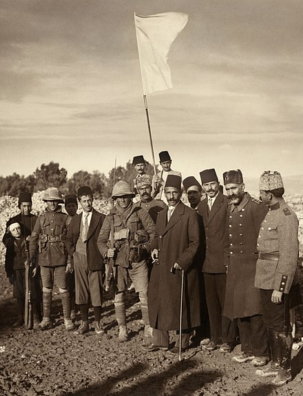 The surrender of Jerusalem to the British, 9 December 1917 Ottoman surrender of Jerusalem restored.jpg