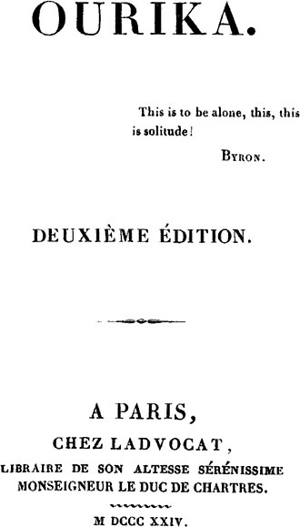 Ourika - Title page from the second edition of Ourika (1824)
