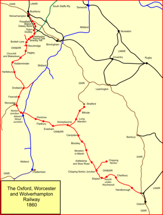 Oxford, Worcester and Wolverhampton Railway - The Oxford, Worcester and Wolverhampton Railway in 1860