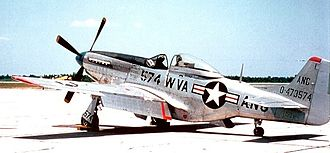 West Virginia Air National Guard - West Virginia ANG F-51D Mustang.  The 167th Fighter Squadron (167th FS) flew the F-51 from 1948 to 1957.  The West Virginia ANG was the last Air National Guard unit to be equipped with the Mustang in squadron service.  The last F-51 (44-72948) was retired to serve as a museum piece at Wright-Patterson Air Force Base on January 27th, 1957.