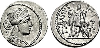 Publius Licinius Crassus (son of triumvir) - Denarius issued by Publius Crassus