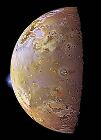 PIA01081-Color Mosaic and Active Volcanic Plumes on Io.jpg