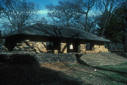 """Bromide Pavilion"" built by Civilian Conservation Corps in Platt National Park. Photo made July 12, 2007. PLATT NATIONAL PARK HISTORIC DISTRICT.jpg"