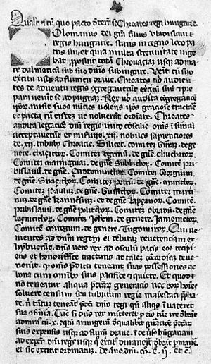Coloman, King of Hungary - The 14th-century manuscript of the Pacta conventa