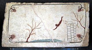 Couvercle de la fresque de la Tombe du plongeur
