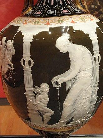 Marc-Louis Solon - Image: Pair of Vases, view 2, Marc Louis Emmanuel Solon, Minton factory, England, 1880, porcelain, polychromy, gilding, bronze bases Mount Holyoke College Art Museum DSC04600