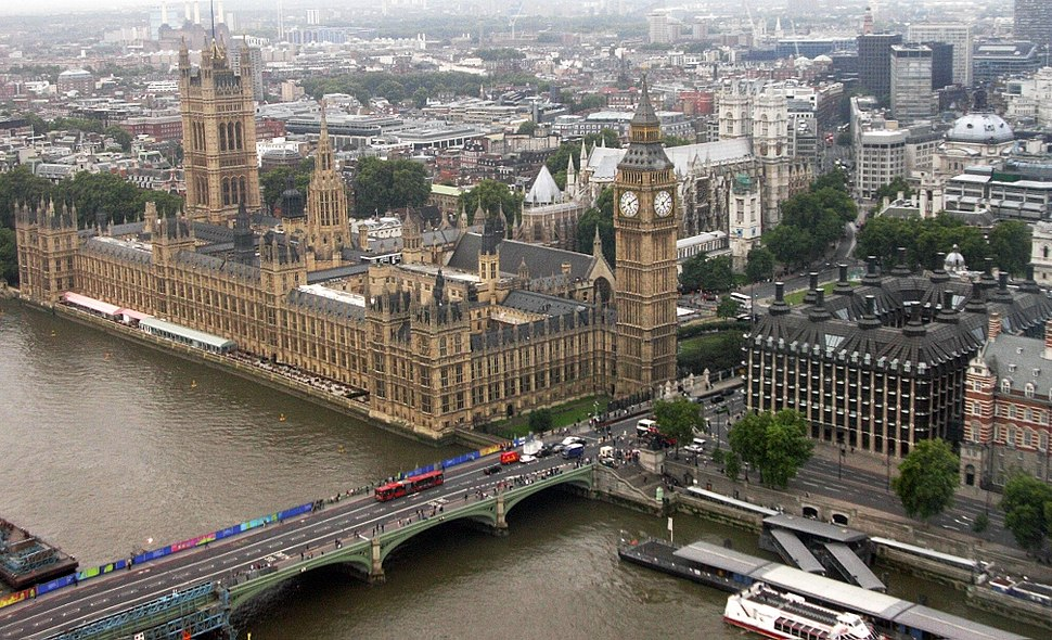 Palace of Westminster from the London Eye, 21 August 2007
