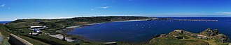 Braye Harbour - Picture overlooking Braye Bay – Braye Harbour in the background