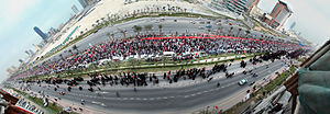March of loyalty to martyrs - Panoramic image of the protest.