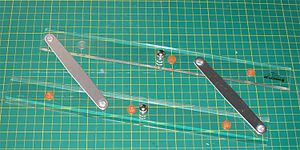 Parallel rulers - Parallel rule in plastic with aluminum arms.