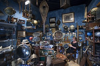 Antique shop - A vintage travel gear seller at Marché Dauphine, Saint-Ouen, Paris
