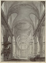 Saint-Roch, Paris, by Lemercier, begun 1653: pen-and-ink drawing by Charles Norry, 1787