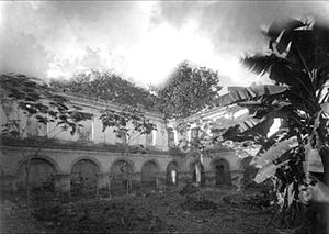 Church and Convent of Society of Jesus (Antigua Guatemala) - Ruins of the school yard in 1880.