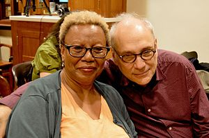 Charles Bernstein - Charles Bernstein (right) with Patricia Spears Jones at the Kelly Writers House in 2016.