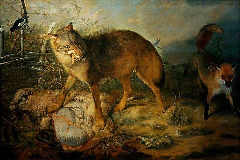 File:Paudiss, Christopher — Wolf, Fuchs und Schaf — 1666.jpg
