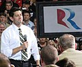 Paul Ryan smiles while addressing a crowd at Carroll University in Waukesha. (8091040968).jpg