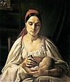 Peasant woman with child by N.S.Krylov (before 1830s, Russian museum).jpg