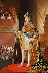 Full length painted portrait of a bearded man wearing a gold crown, mantle and sword and grasping a long scepter