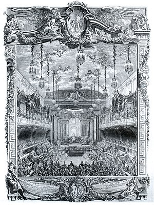 Royal Opera of Versailles - Premiere of Rameau's La princesse de Navarre on 23 February 1745 in the Grande Écurie, engraving by Charles-Nicolas Cochin.