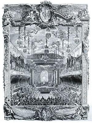 La princesse de Navarre - Premiere of La princesse de Navarre, engraving by Charles-Nicolas Cochin.