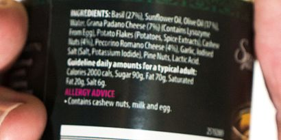 Small print ingredients list