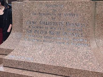 Peter Nicol Russell - The inscription below the statue reads: 'Presented to The University of Sydney by DAME CHARLOTTE RUSSELL in memory of her late husband SIR PETER NICOL RUSSELL a magnificent benefactor who endowed the Peter Nicol Russell School of Engineering'.