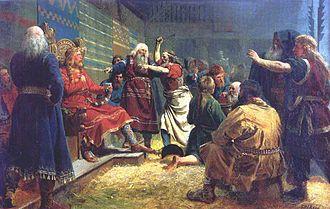 Haakon the Good - Håkon den Gode og bøndene ved blotet på Mære by Peter Nicolai Arbo (1860)