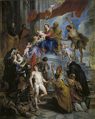 The Holy Family surrounded by Saints