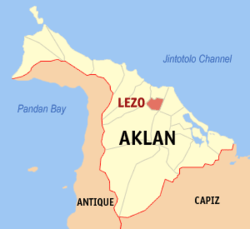 Map of Aklan with Lezo highlighted