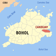 Map of Bohol showing the location of Candijay