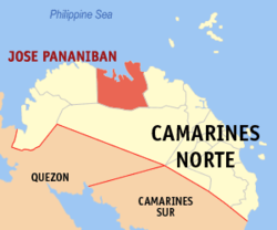Map of Camarines Norte highlighting Jose Panganiban