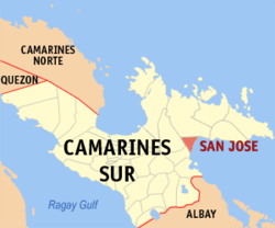 Map of Camarines Sur showing the location of San Jose