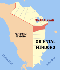 Map of New Mindoro showing the location of Pinamalayan.