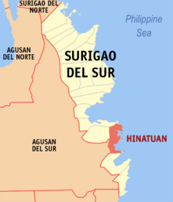 Map of Surigao del Sur showing the location of Hinatuan