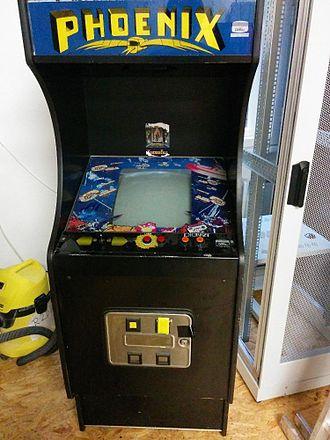 Phoenix (video game) - A 1981 Italian model of the Phoenix arcade cabinet. (Mfr: Amtec)