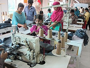 Textile industry in Bangladesh - Women work in a textile factory outside Dhaka, Bangladesh.
